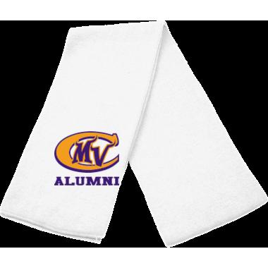 Solid Knit Scarf-White w/ MVC Alumni Logo